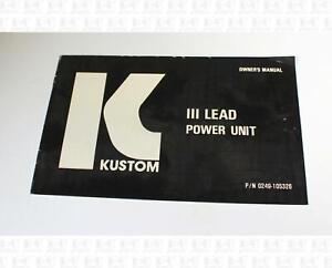 Kustom III Lead Power Unit Owner's Manual