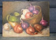 GARDEN VEGETABLES RED WHITE YELLOW ONIONS SOUP CROCK POT STILL LIFE OIL PAINTING