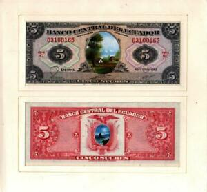 ECUADOR BANKNOTE.5. PROOF.ARTIST DESIGN.1983.