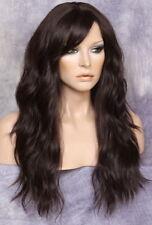 Long Beach Wavy Dark Brown Full Wig Heat hair piece OK Bangs wig Hairpiece FBW 4