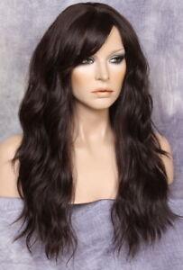 Long Beach Wavy Dark Brown Human hair Blend Full Wig Heat OK Bangs FBW 4