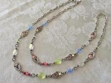 Brighton Painted Garden Long necklace Swarovski Crystals flower & beads new tags