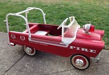 1968 MURRAY FIRE TRUCK PEDAL CAR, FLAT FACE, LADDER RACKS, VINTAGE, SURVIVOR