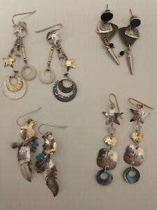 Lot Of 4 Pair Signed And Unsigned Sterling Tabra Earrings