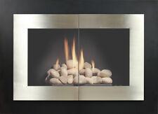 "Stoll Glass Fireplace Door Manhattan Satin Nickel Texture Black  38"" x 30"""