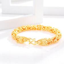 "Dragon Head Chain Bracelet 8"" Punk Fashion Men's 24K Yellow Gold Filled Chinese"