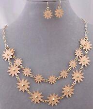 Layered Peach Flower Starburst Necklace Set Gold Fashion Jewelry New