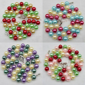 8mm Multi Color South Sea Shell Pearl Round Beads Necklace Jewelry 16-36''