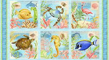 "Fish Turtle Ocean Life Cotton Fabric Wilmington Seaside Wonders ~ 24""X44"" PANEL"