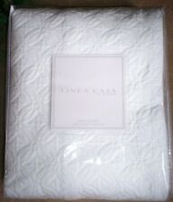 New Sferra Wedding Ring Coverlet Matelasse Quilt 100% Cotton Queen Solid White