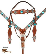 CRYSTAL WESTERN HORSE BLING JEWEL BRIDLE AND BREAST COLLAR TURQUOISE TACK SET
