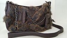 GALIAN New York Brown Faux Fur Bohemian Handbag Shoulder Bag Crossbody Purse