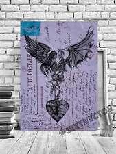 Gótico Calaveras Romántico Vintage Postal Enmarcado Arte Imagen Lienzo Obra #279