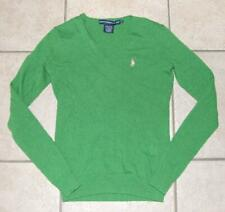 CLEARANCE Green Small 4 / 6 Stretchy Cashmere & Wool Blend Sweater RALPH LAUREN
