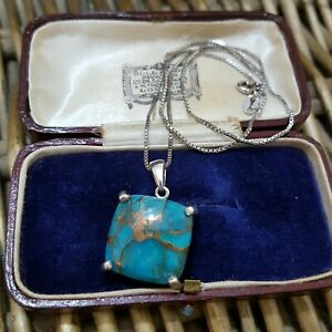 925 Sterling Silver Necklace, Turquoise Gemstone Pendant, 16 Inches Chain