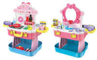 Childrens Girls Role Play Kitchen & Dressing Table Beauty Case 54 Piece Set 4080