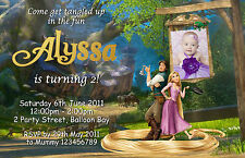 Personalised Tangled Rapunzel inspired Birthday Party Invitations Photo invite
