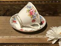 Tuscan Fine English Bone China, Blue & Pink Floral, Tea Cup & Saucer