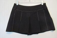 Celyn B. Black w/ White Stitching Pleated Mini Skirt SIZE:M/42 NWOT