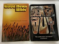 1970's Good News Bible & Reach Out Living New Testament Illustrated Vintage