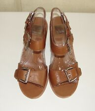 NIB Dolce Vita sz 7.5 Kanna natural leather silver buckle stacked heel sandals