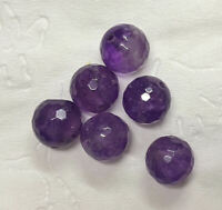 41 Carats 10mm Faceted AMETHYST Gemstone BEADS Lot (#L6481)