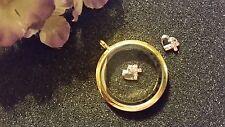 Silver Heart Rose Gold CZ Cross Floating Charm for Living Lockets - US Seller