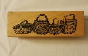 """Vintage Baskets Wood Mounted Rubber Stamp  4  1/2"""" X 2  1/2"""" by PSX 1995"""