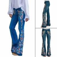 Women Loose Denim Flare Jeans High Waist Ladies Embroidery Wide Leg Pant Street