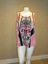 Apt.9 Floral Women's plus Crepe Scoopneck Tank Solid Back Size:3X New with tag