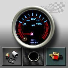 "Oil pressure gauge 52mm 2"" smoked face 7 colour dash display dash panel mount"