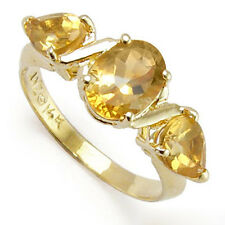 Three Stone Citrine Mother's ring Solid 14k Gold Ring Sizes 4 to 9.5 #R483