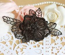 Novia De Encaje Con Apliques Negro Boda Adorno Floral Mariposa Coser en ajuste 1 Par