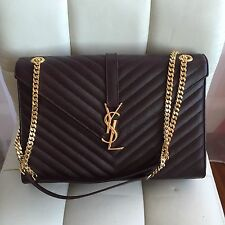 YSL Yves Saint Laurent Monogram Grained Leather Shoulder Flap Bag