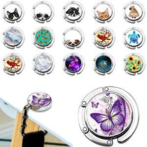 Leezo Flower Design Pattern Foldable Table Hook Desk Hanger Storage Holder for Shoulder Tote Handbag Purse
