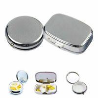 Portable Silver Metals Rectangle Round Pill Box Drug Holder Medicine Tablet Box