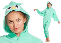 Hooded Aqua OWL Fleece Pajamas Woman Union Suit Costume Adult One Piece