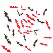 12x 3D Bats Wall Stickers Halloween Decorations Plastic Black Red Bat PVC Decal