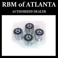 Genuine Mercedes Benz MB Blue Laurel Star & Wreath Valve Stem Caps