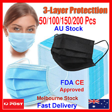 50 DISPOSABLE FACE MASK 3LAYER PROTECTIVE NON-SURGICAL CE CERTIFIED Black Blue