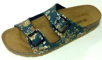 Goldstar Schuhe Damen Bio Pantolette Tieffußbett Hausschuh 1336 blue blau