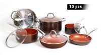 10 Pcs Cookware Copper Pan Set Induction Nonstick Chef Skillet Fry Sauce Steamer