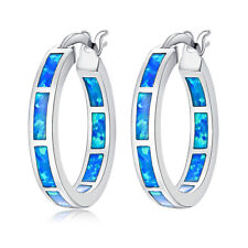 "Blue Fire Opal Women Jewelry Fashion Gemstone Silver Hoop Earrings 7/8"" OH2666"