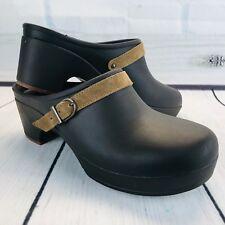 Women Crocs Sarah Clog Brown Mule Rubber Casual Comfort Slip On Shoe Suede Strap