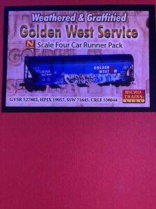 micro trains n scale weathered & graffitied golden west service four car runner