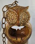 VTG Large Owl Hanging Ashtray Glazed Drip Paint MCM Art Pottery with Chain