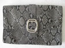 JESSICA SIMPSON BLACK & GRAY ALIGATOR DESIGN EVENING CLUTCH PURSE - NEW