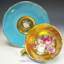 RARE TURQUOISE PARAGON ROSES FLOWERS HEAVY GOLD DEMITASSE CUP & SAUCER TEACUP