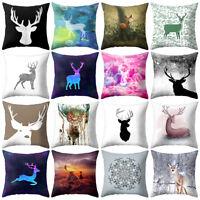 Christmas Deer Snowflake Cushion Cover Throw Pillow Case Home Sofa Decor Square