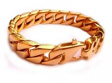 Mens Curb Cuban Link Bracelet Stainless Steel Gold Tone Chain 70g 15mm US Seller